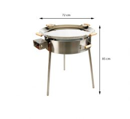 GrillSymbol Paella Stekehelle Sett PRO-720 inox