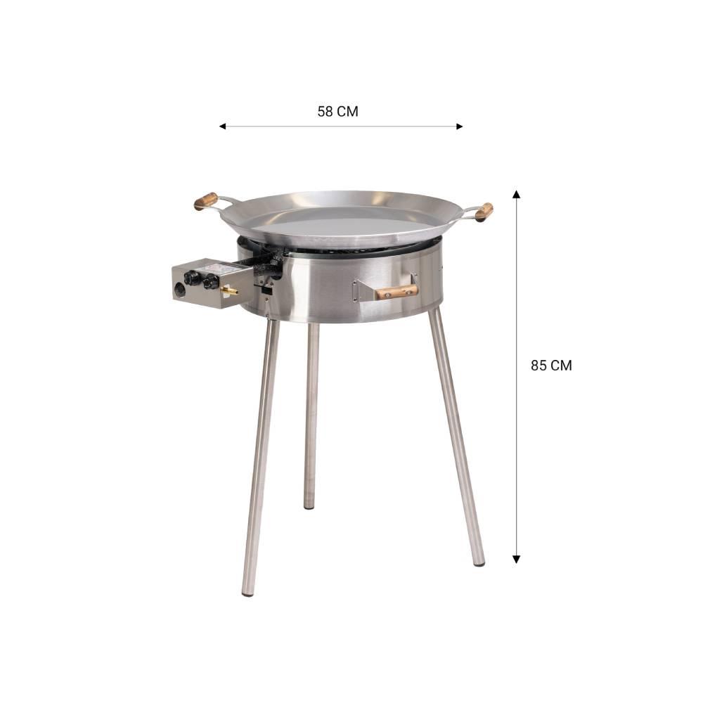 GrillSymbol Paella Stekehelle Sett PRO-580 inox